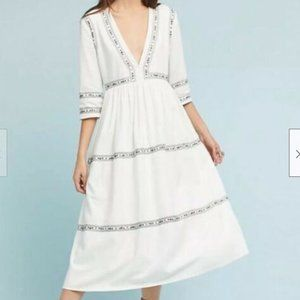 Anthropologie Flannel Embroidered White Maxi Dress